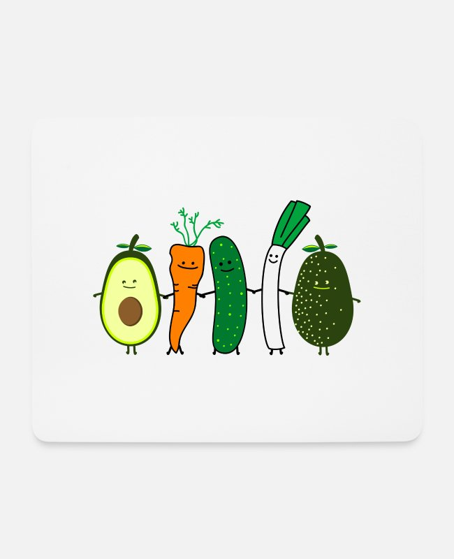 Vegetables Mouse Pads - vegetable friends - Mouse Pad white