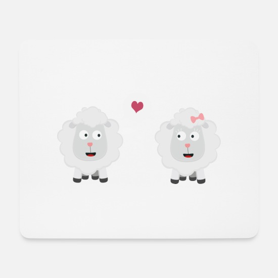 Nature Mouse Pads - Sheep in love with heart S7b4v-design - Mouse Pad white