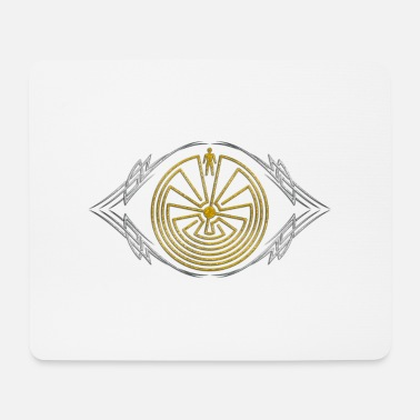 Labyrinth Man in the Maze - Tribal Tattoo - gold silber - Mousepad