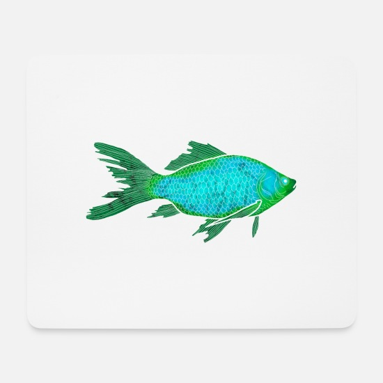 Reef Mouse Pads - Turquoise mystic fish - Mouse Pad white