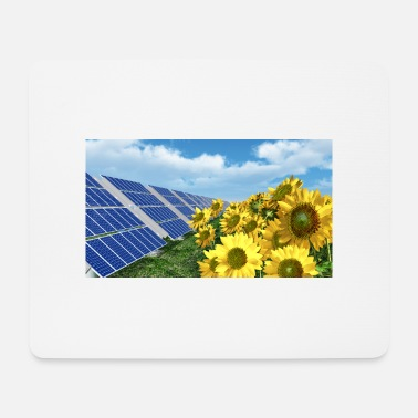 Electricity Solar panels and sunflowers - Mouse Pad
