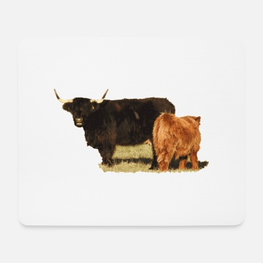 Kuh und Kalb der Highland Cattle - Mousepad