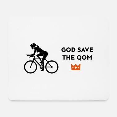 female cyclist save the q - Mousepad
