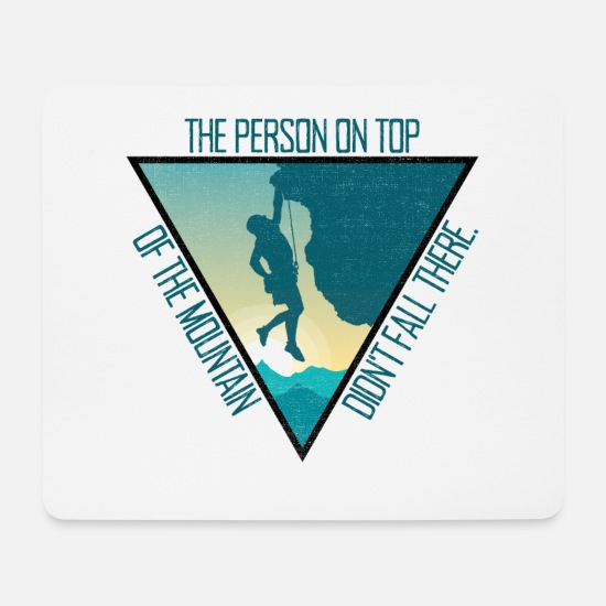 Gift Idea Mouse Pads - Bouldering Climbing Mountains The Person On Mountain Top - Mouse Pad white