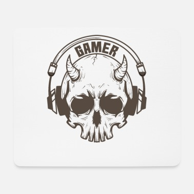 Mouse Gamer skull with horns and headset - Mouse Pad