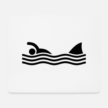 Shape Shark Funny swimmer with shark - Mouse Pad