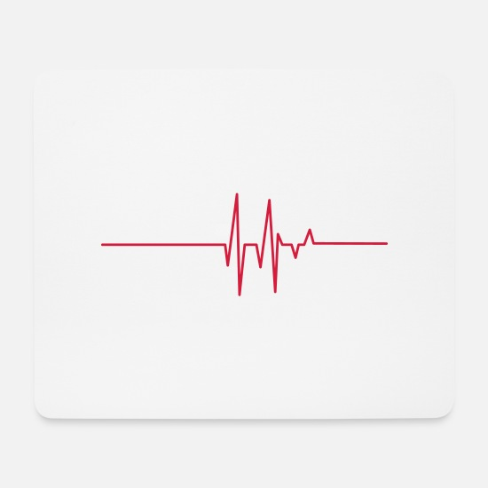 Attack Mouse Pads - heart line - Mouse Pad white
