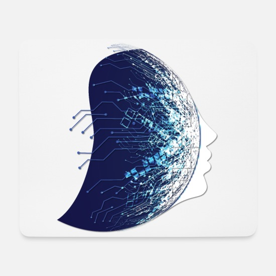 Robot Mouse Pads - Techno Face - Mouse Pad white