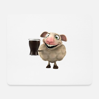 Pint Irish sheep with pint - Mouse Pad