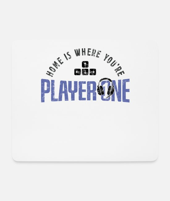 Video Game Mouse Pads - Gamer Zocker Home Is Where Youre Player One Design - Mouse Pad white