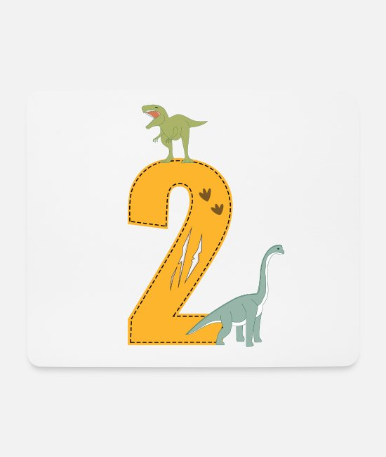 Birthday Child Mouse Pads - Birthday 2 years dinosaur Dino 2nd birthday - Mouse Pad white