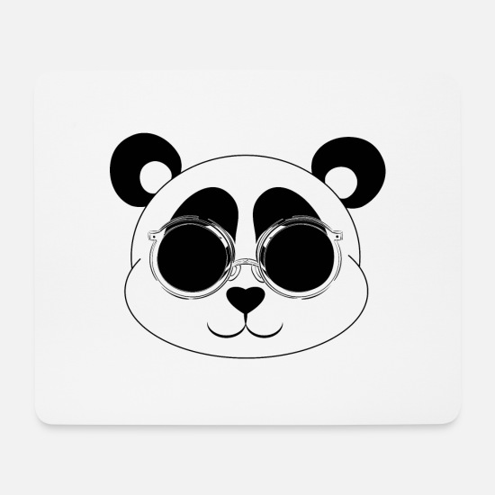 Sunglasses Mouse Pads - Funny panda with sunglasses - Mouse Pad white