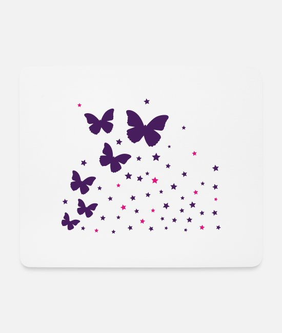Design Mouse Pads - Butterflies & asterisk - Mouse Pad white
