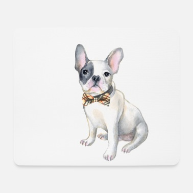 Frenchie French Bulldog plaid bowtie Hunde In - Mousepad (bredformat)