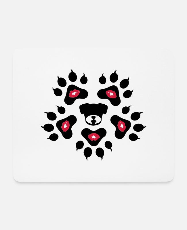 I Love Wild Animals Cool Awesome Animal Footprint Sign Design For Cute Animal Fashion Products Mouse Pads - ♥ټBowWow Dog Footprints-I Love Dogsټ♥ - Mouse Pad white