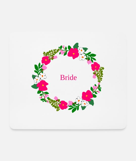 Hen Mouse Pads - Flower wreath bride - Mouse Pad white