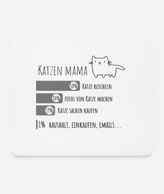 Cat Mouse Pads - Cat Mama Catmum Design - Mouse Pad white