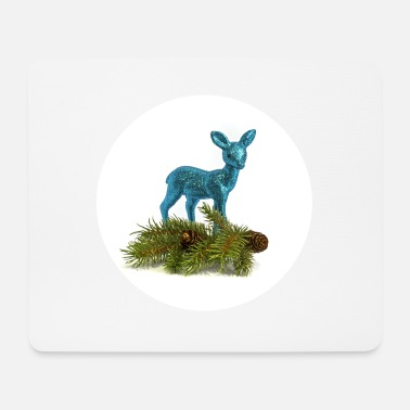 Deer with pine branch - Mouse Pad