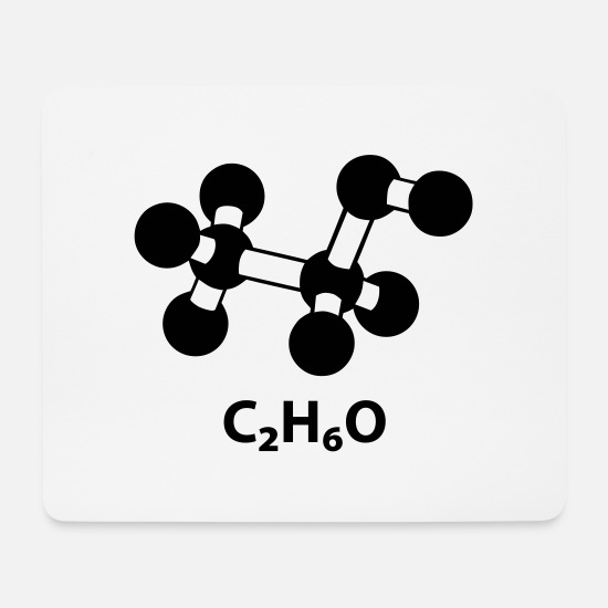 Chemistry Mouse Pads - alcohol molecule with formula C2H6O - Mouse Pad white