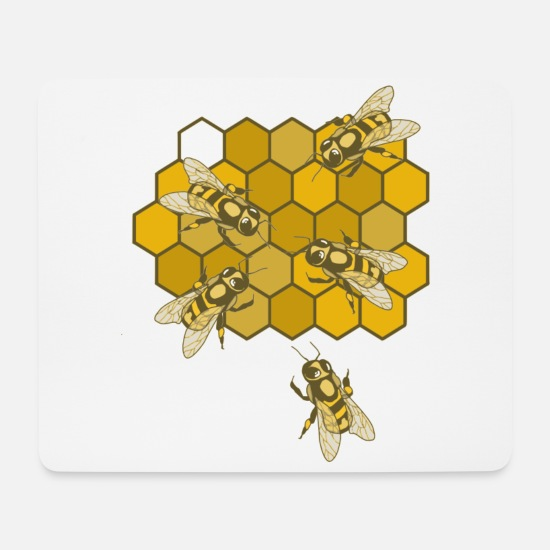 Honeycomb Mouse Pads - Bees on honeycomb - Mouse Pad white
