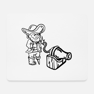 Wooden Leg Pirate with wooden leg and cannon - Mouse Pad