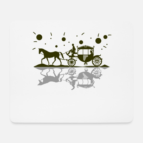 Horse-drawn Carriage Mouse Pads - Horse-drawn carriage horse romance love - Mouse Pad white