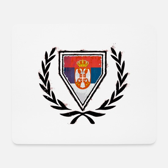 Shield Mouse Pads - Coat of Arms of Serbia (Serbia) - Mouse Pad white