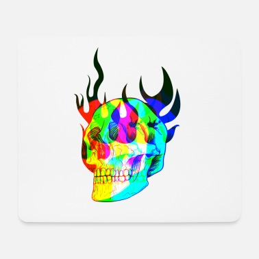 Scheletro Trippy Flaming Skull in colori psicotici - Tappetino mouse