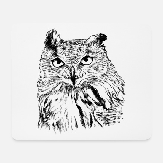 Nocturnal Mouse Pads - Uhu Portrait black and white (for light products) - Mouse Pad white