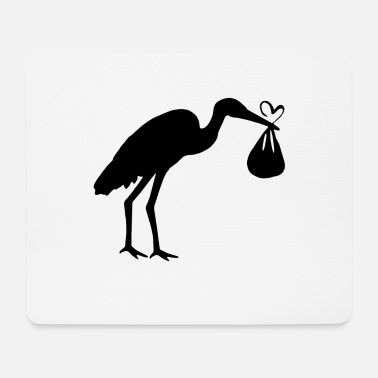 Toddler Stork with toddler and heart - Mouse Pad