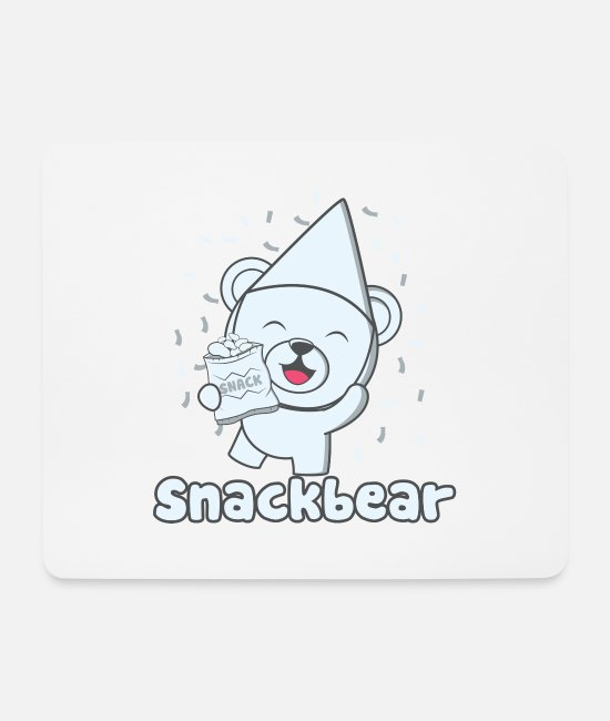 Birthday Mouse Pads - Snack bear / snack bear with hat - Mouse Pad white