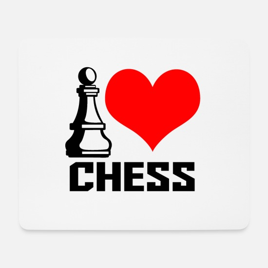 I Love Tapis de souris  - i heart chess - Tapis de souris blanc