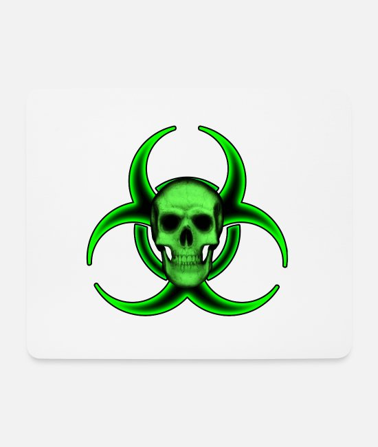 Warning Mouse Pads - Biohazard Skull - Mouse Pad white
