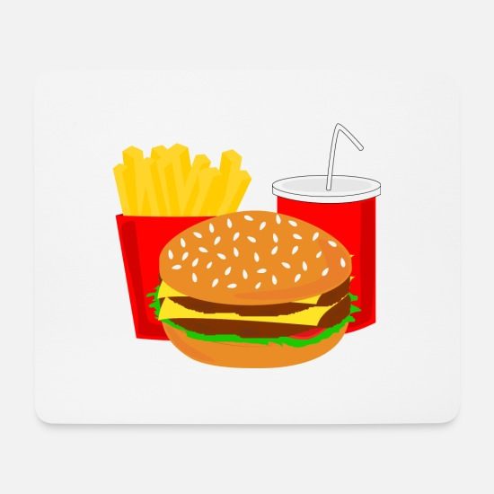 Gift Idea Mouse Pads - Burger Menu Fast Food Cola Gift Gift Idea - Mouse Pad white