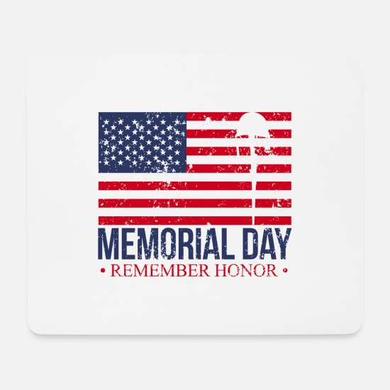 Usa Mouse Pads - Memorial Day Soldier - Mouse Pad white