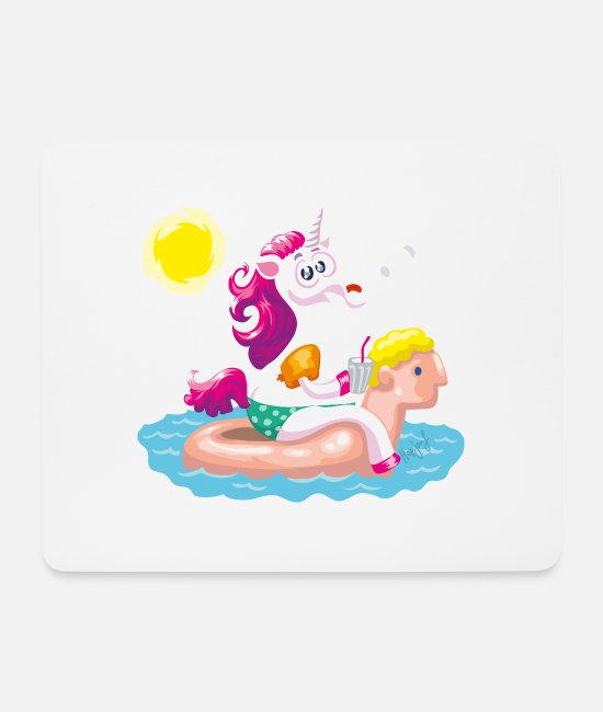 Float Mouse Pads - Unicorn water animal inflatable - Mouse Pad white