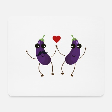 Funny &amp Aubergines who love each other - Mouse Pad