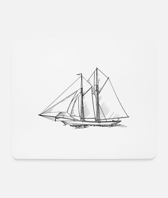 Drawing Mouse Pads - sailboat - Mouse Pad white