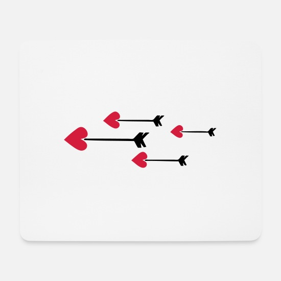 Pfeil Mousepads  - arrow heart love amor 802 - Mousepad Weiß