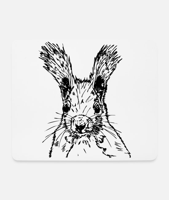 Nature Mouse Pads - squirrel drawing - Mouse Pad white