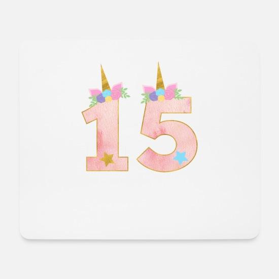 15 Jahre Einhorn 15 Geburtstag Mädchen Geschenk Mousepad Querformat Weiß