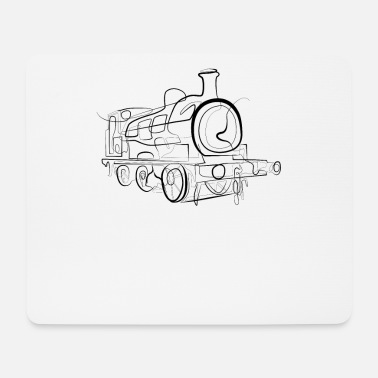 Drawing Locomotive train - one line drawing - Mouse Pad