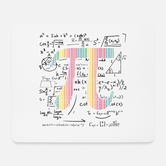 Birthday Mouse Pads - Pi Day Gift 3.14 Pi symbol with Math Equations - Mouse Pad white