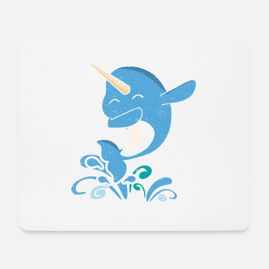 Narwhal Mouse Pads - Dabbing Narwhal - Mouse Pad white