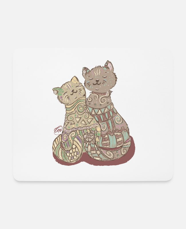 I Love Mousepads - Lovely Cats - Mousepad Weiß