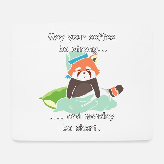Coffee Bean Mouse Pads - Red panda - Monday - Mouse Pad white