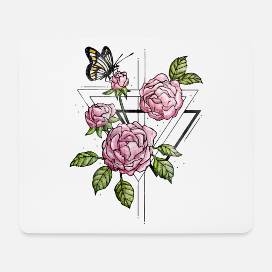 Triangle Roses Vintage Design With Wild Roses Mouse Pad Horizontal White
