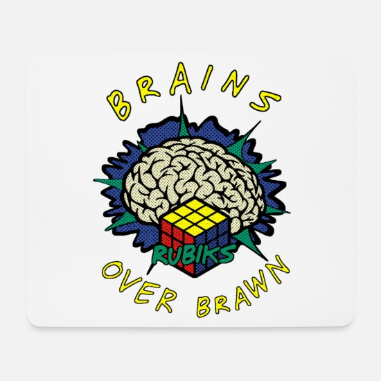 Nerdy Mouse Pads - Rubik's Cube Brains Over Brawn - Mouse Pad white