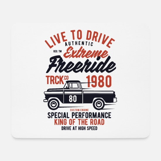 Gift Idea Mouse Pads - Truck Racing Living for Driving Vintage - Mouse Pad white