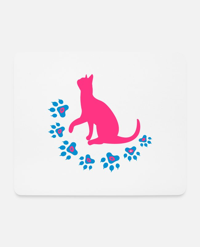 Mouse Pads - ♥ټMeow Kitty Cat Footprints-I Love Catsټ♥ - Mouse Pad white